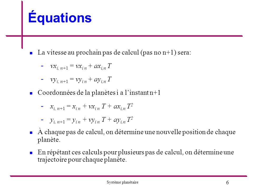 Équations La vitesse au prochain pas de calcul (pas no n+1) sera: