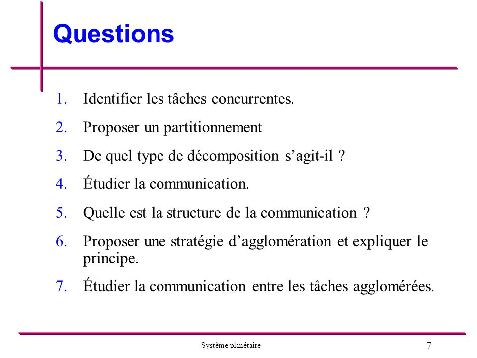 Questions Identifier les tâches concurrentes.