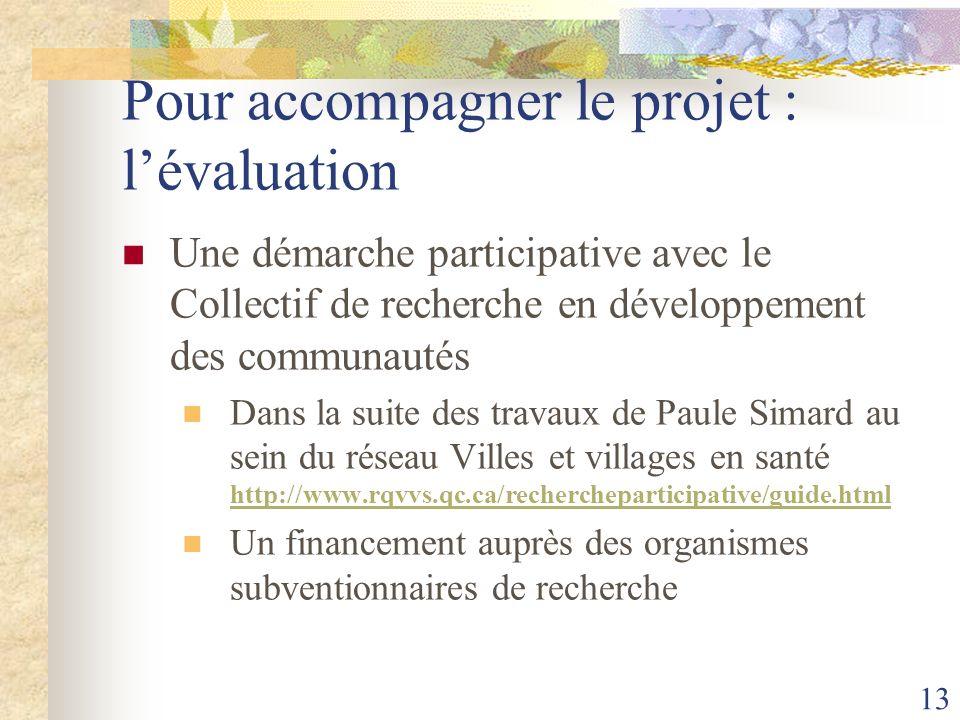 Pour accompagner le projet : l'évaluation