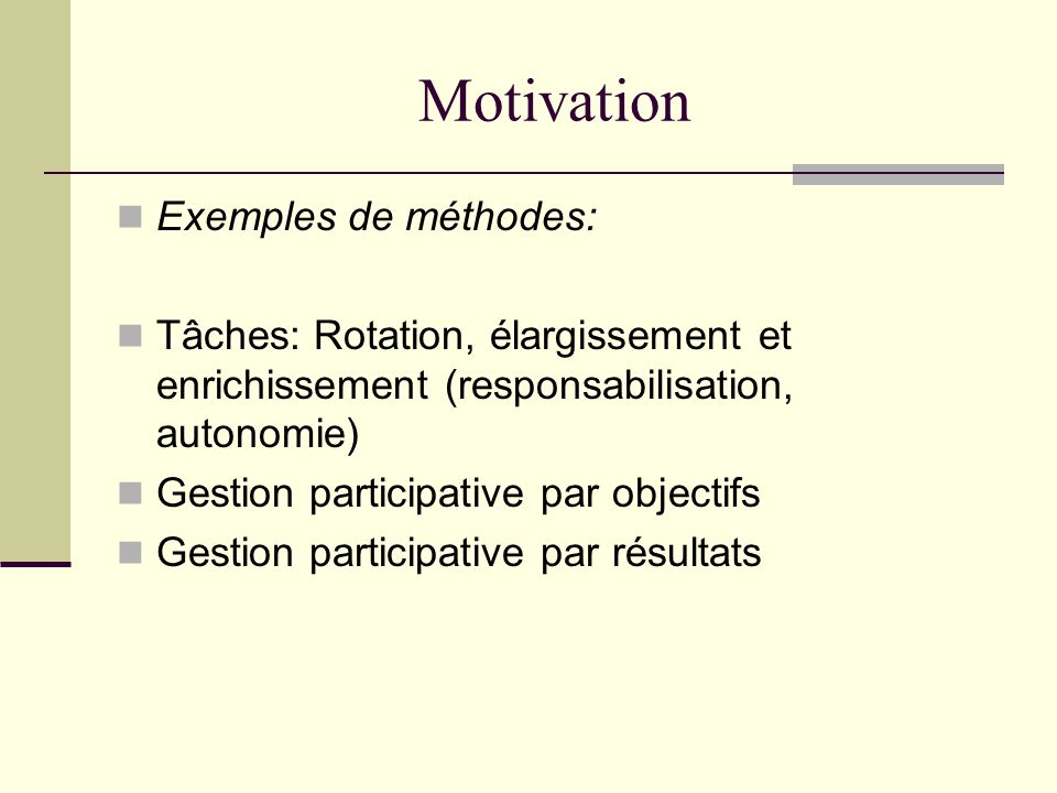 Motivation Exemples de méthodes: