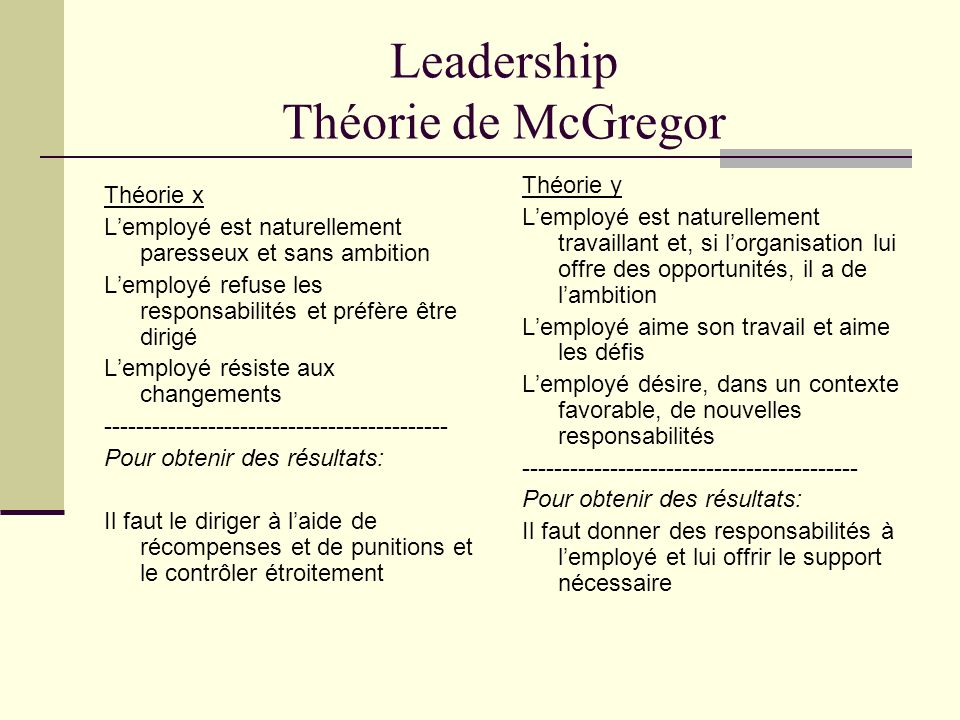 Leadership Théorie de McGregor