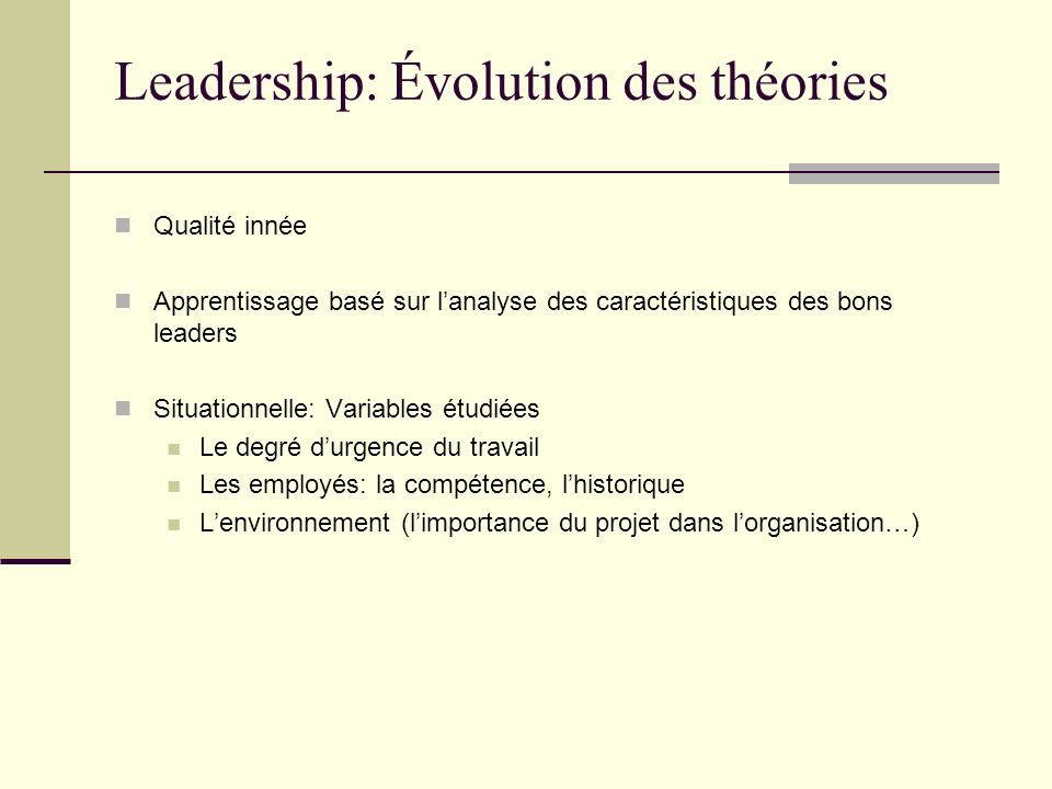 Leadership: Évolution des théories