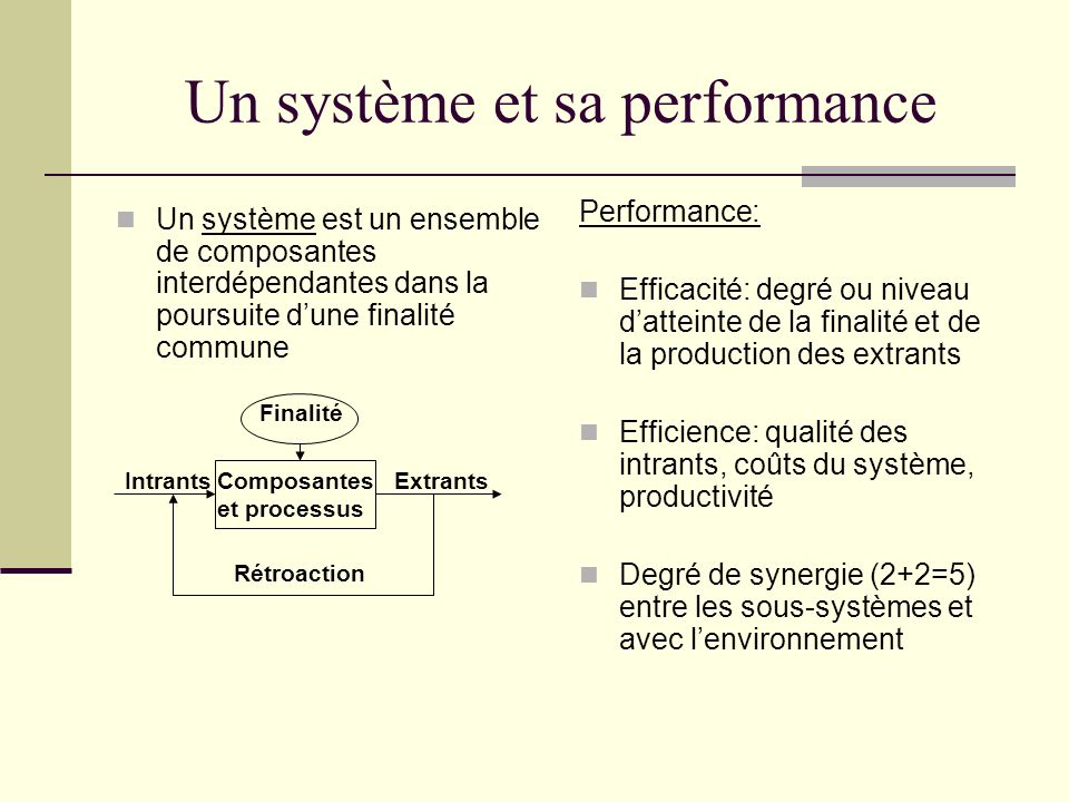 Un système et sa performance