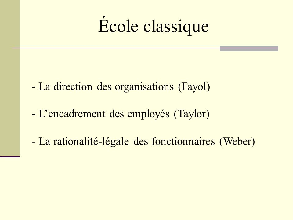 École classique La direction des organisations (Fayol)