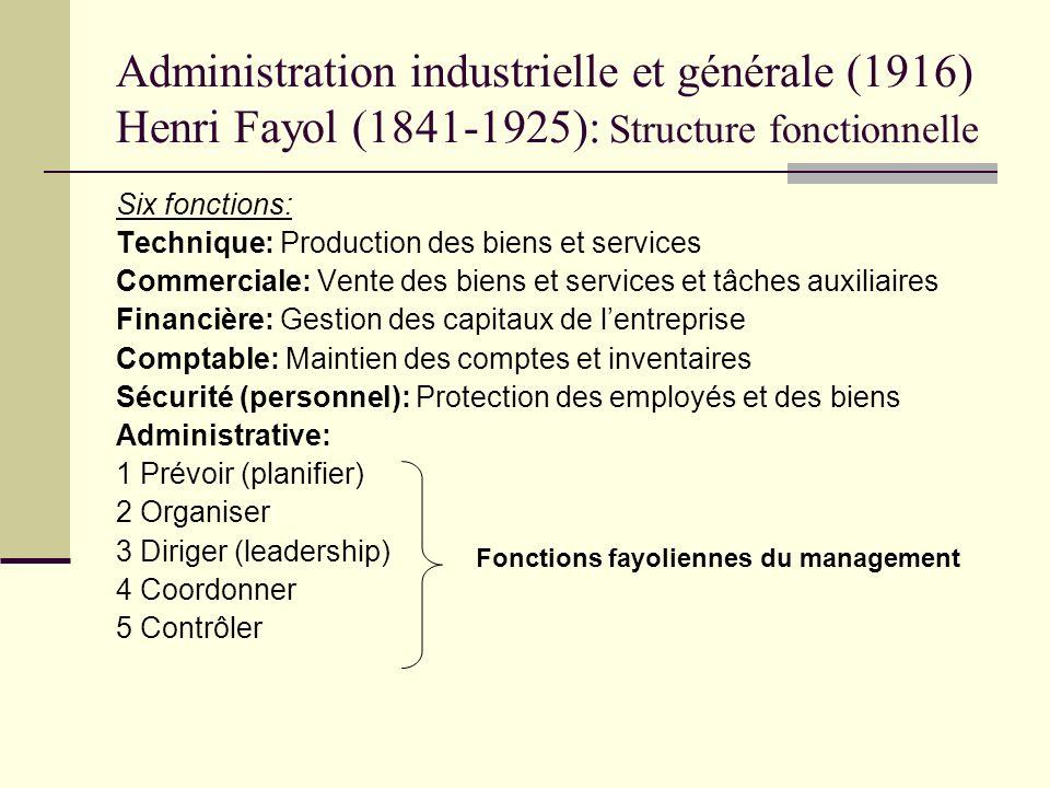 Administration industrielle et générale (1916) Henri Fayol (1841-1925): Structure fonctionnelle