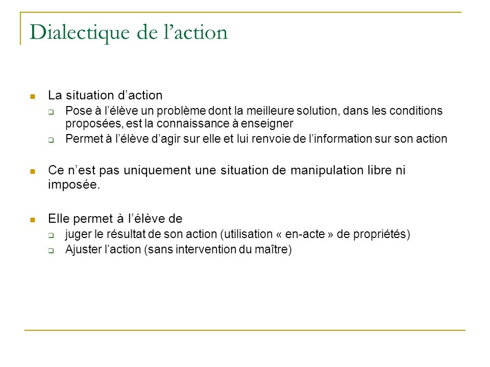 Dialectique de l'action