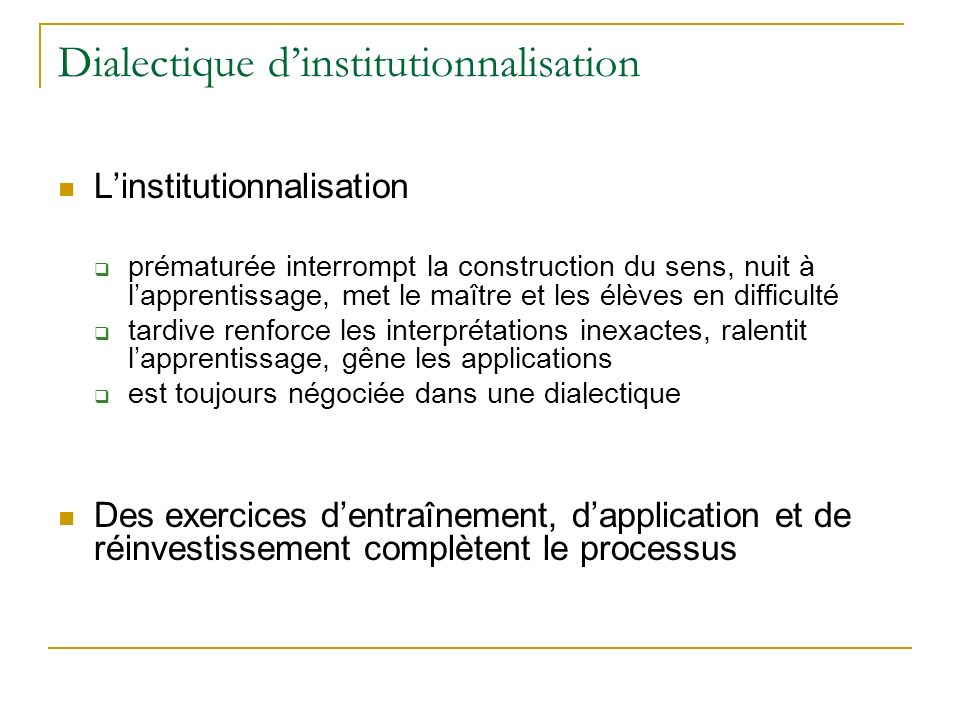 Dialectique d'institutionnalisation