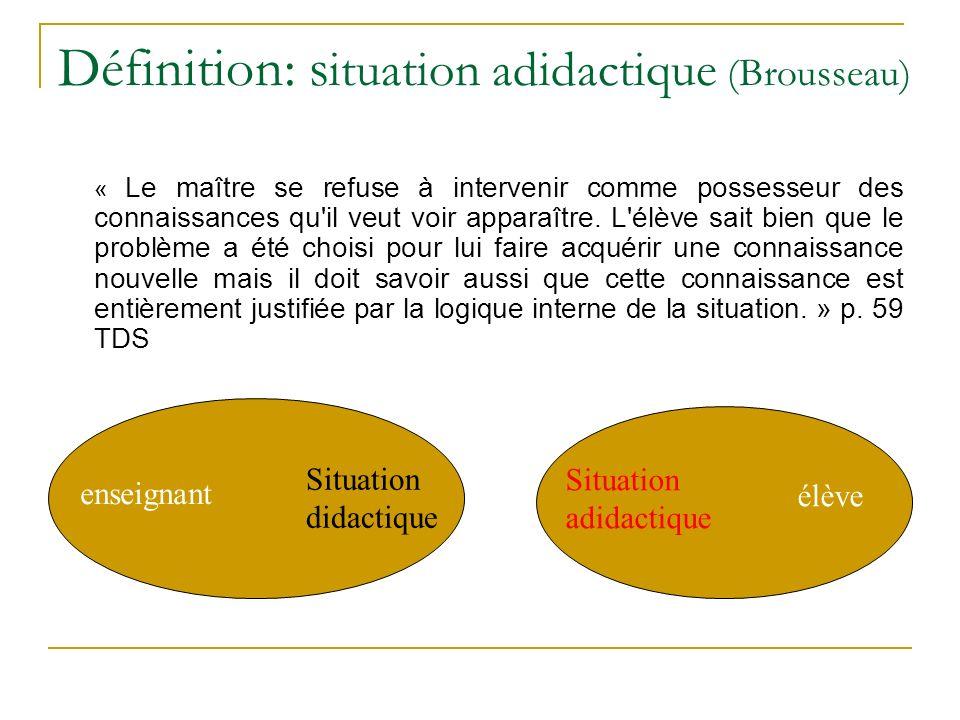 Définition: situation adidactique (Brousseau)