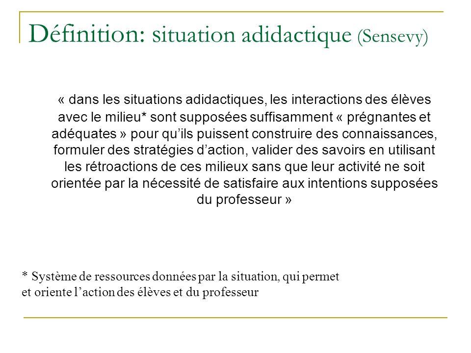 Définition: situation adidactique (Sensevy)