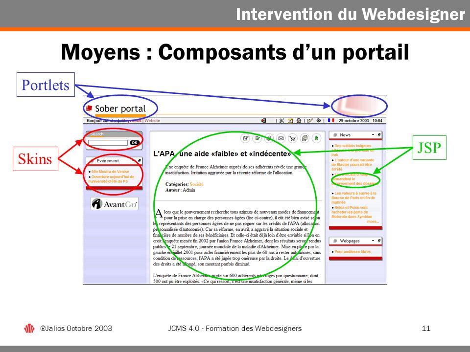 Moyens : Composants d'un portail