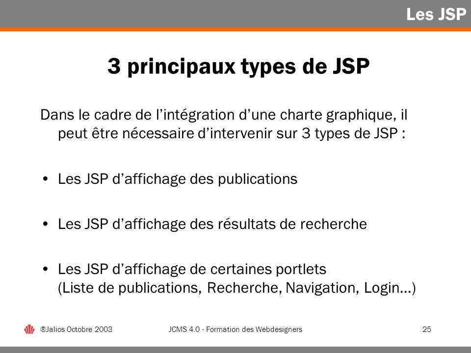 3 principaux types de JSP
