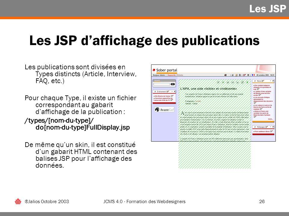 Les JSP d'affichage des publications