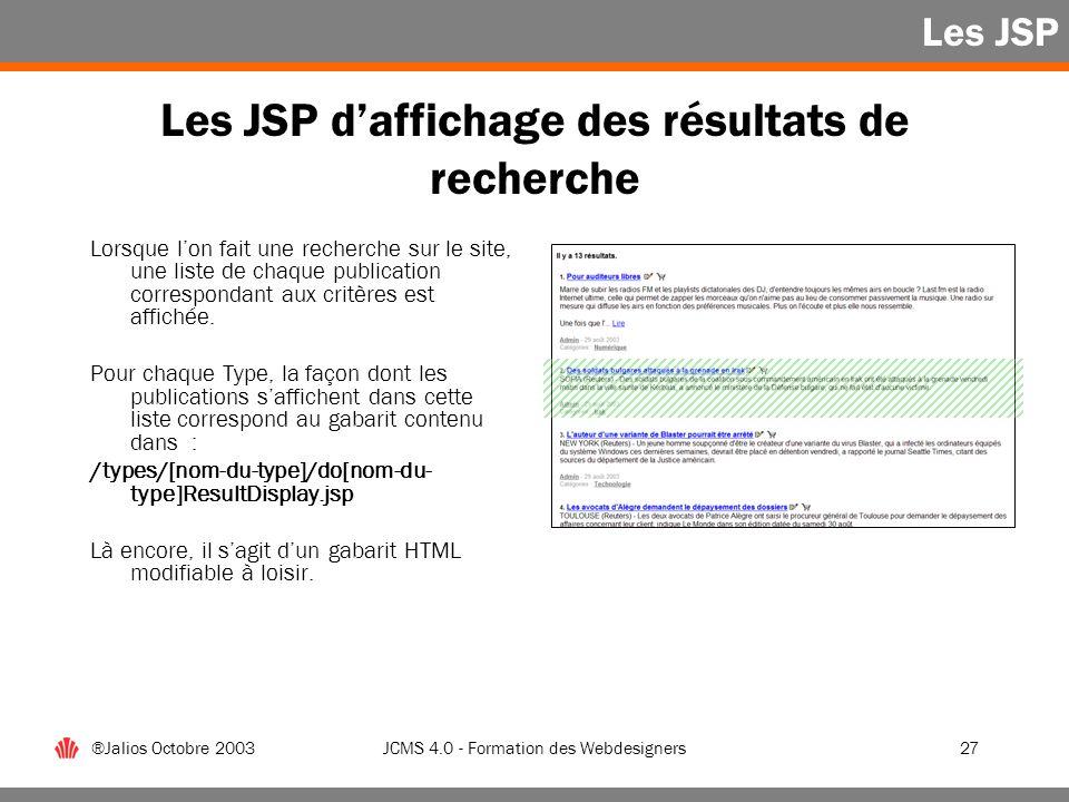 Les JSP d'affichage des résultats de recherche