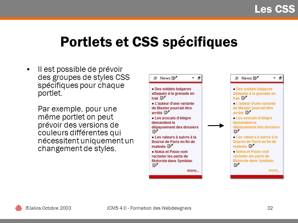 Portlets et CSS spécifiques