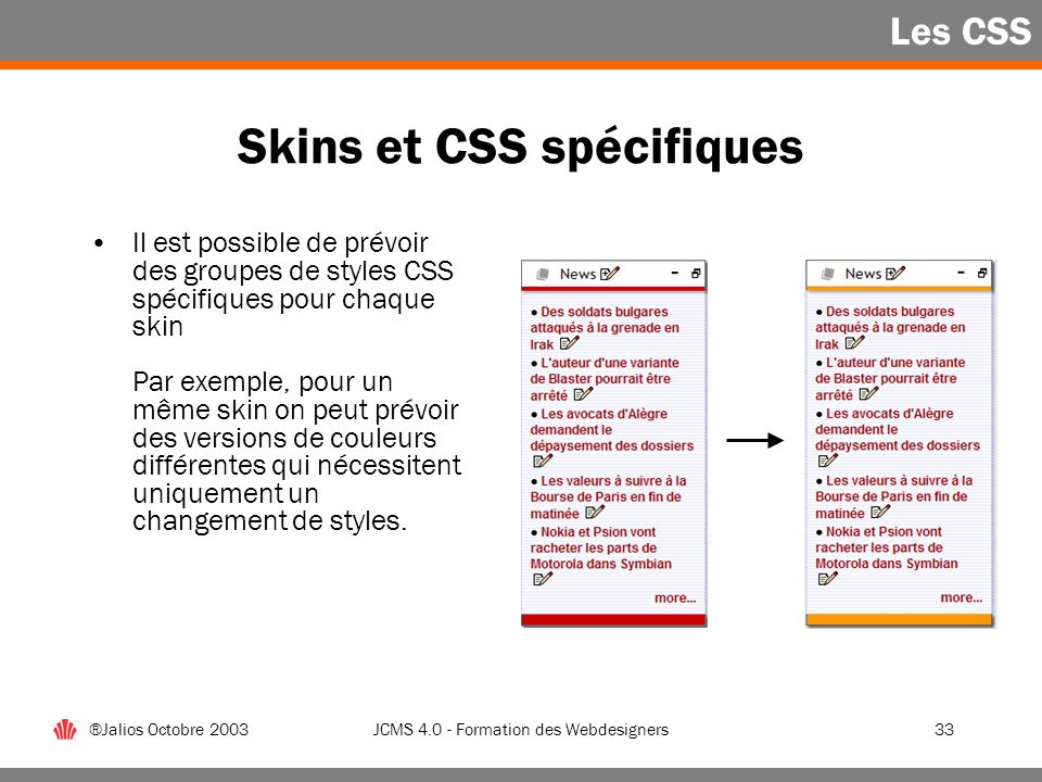 Skins et CSS spécifiques