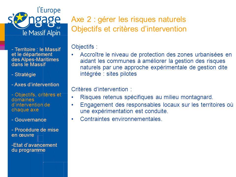 Axe 2 : gérer les risques naturels Objectifs et critères d'intervention