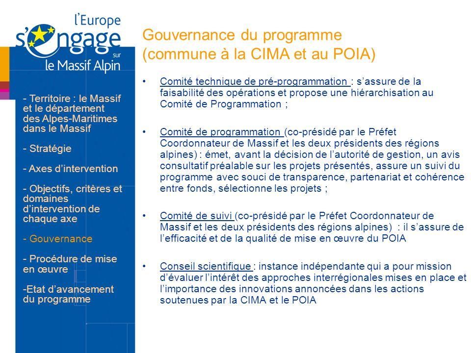 Gouvernance du programme (commune à la CIMA et au POIA)