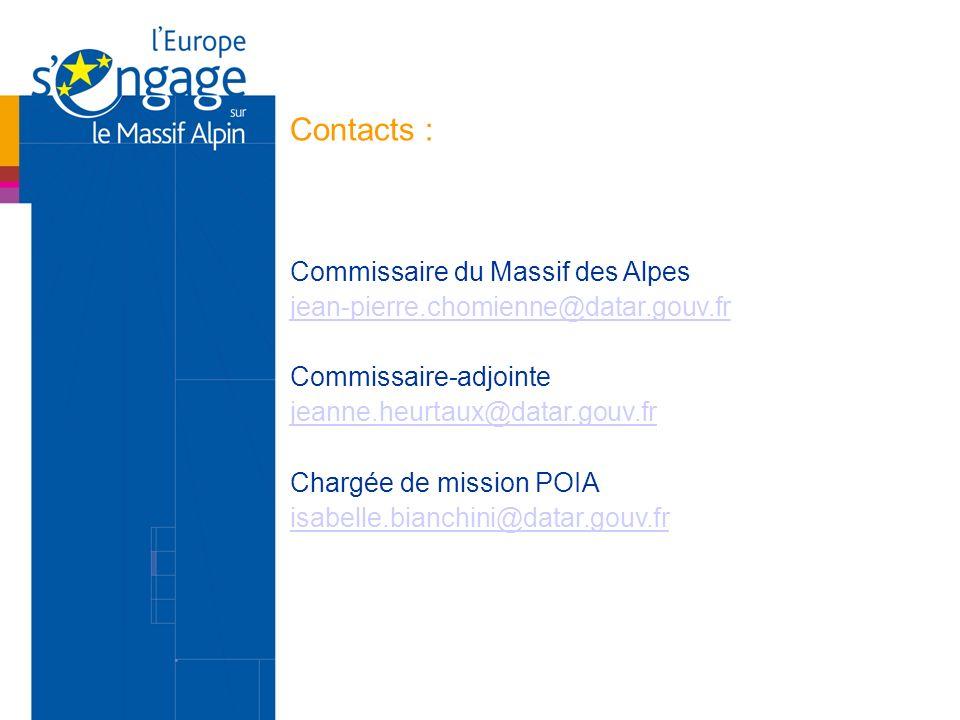 Contacts : Commissaire du Massif des Alpes