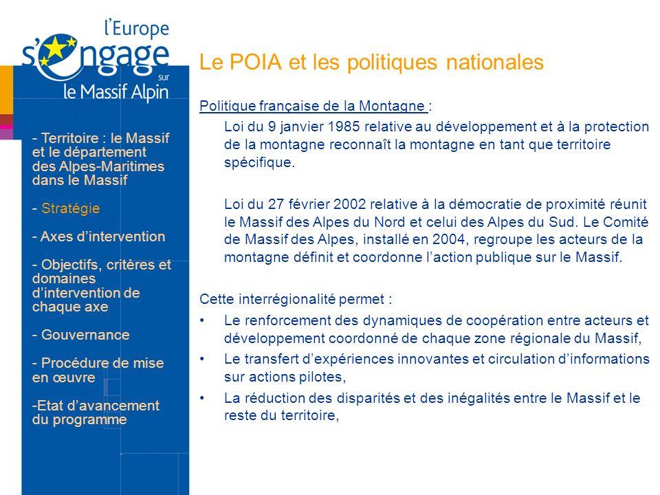Le POIA et les politiques nationales