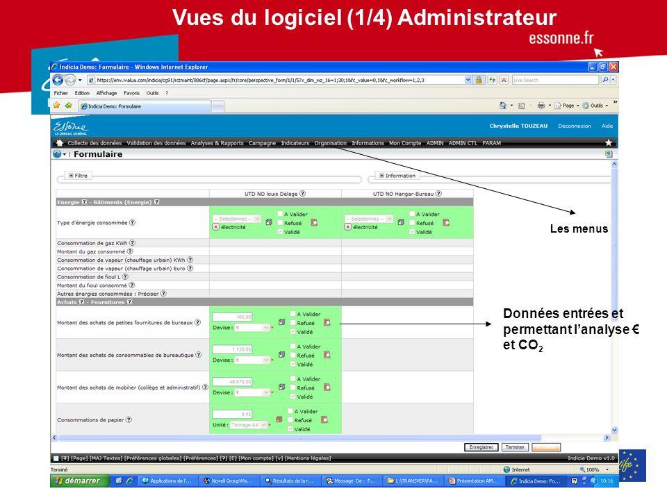Vues du logiciel (1/4) Administrateur