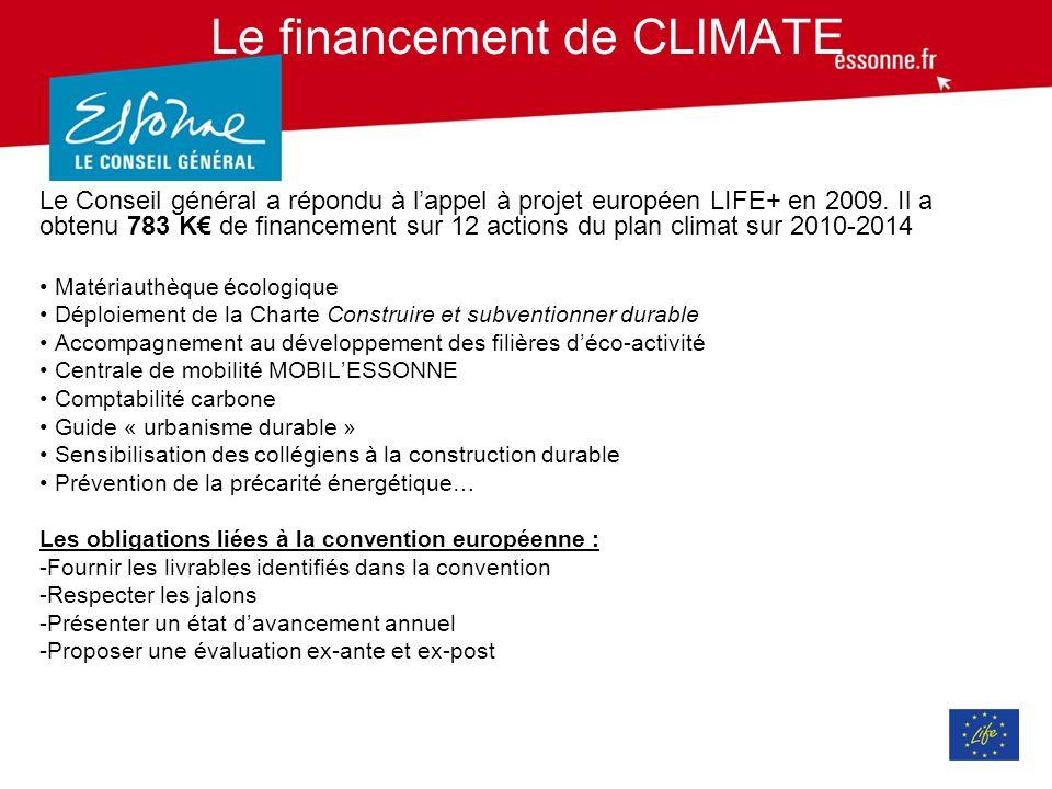 Le financement de CLIMATE