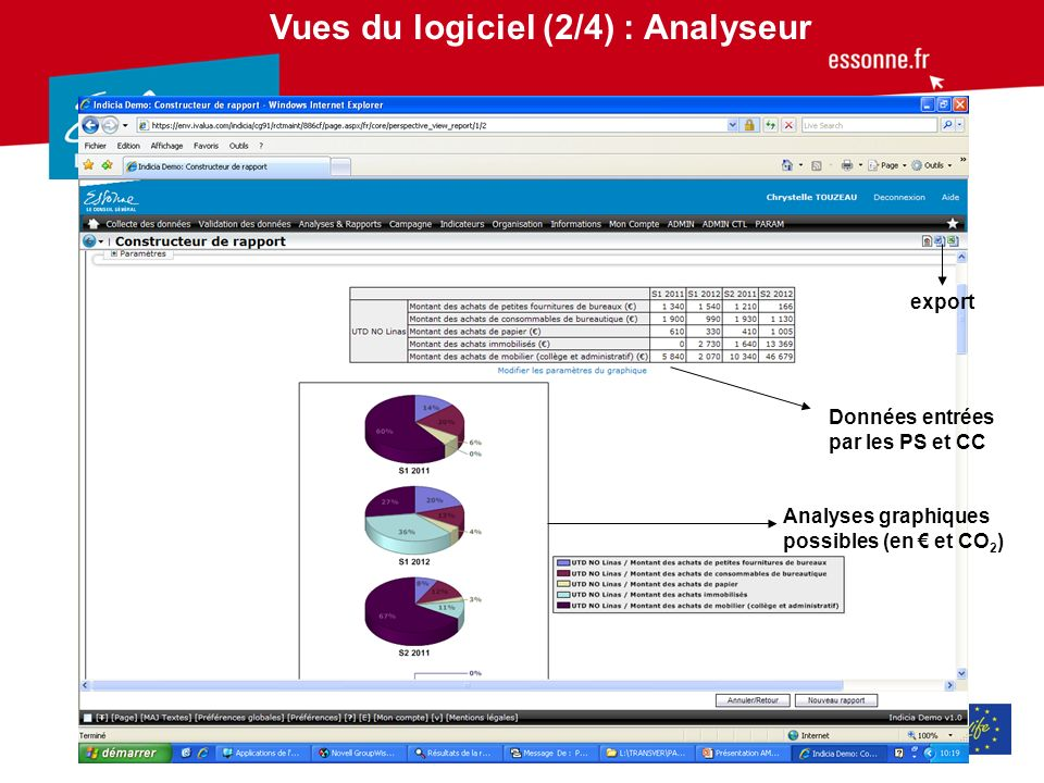 Vues du logiciel (2/4) : Analyseur