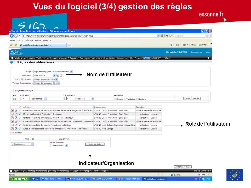 Vues du logiciel (3/4) gestion des règles