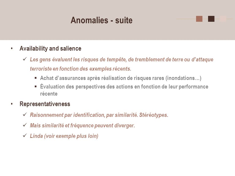Anomalies - suite Availability and salience Representativeness