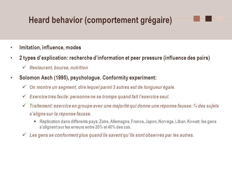 Heard behavior (comportement grégaire)