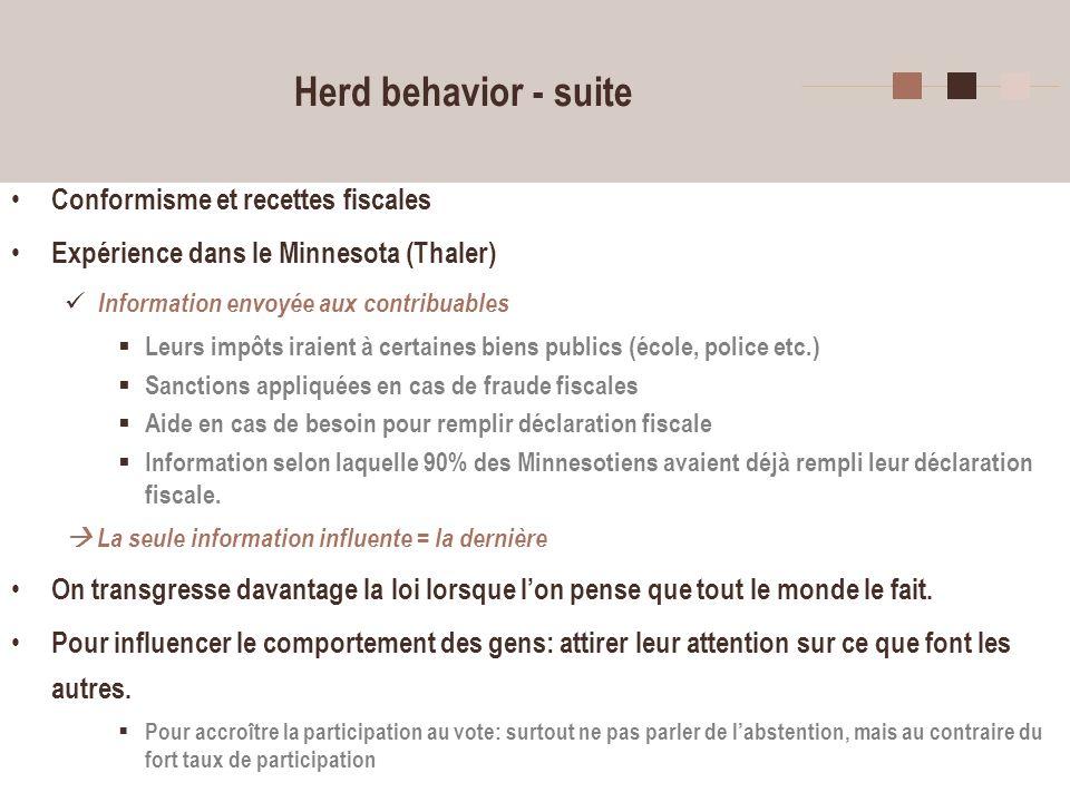 Herd behavior - suite Conformisme et recettes fiscales