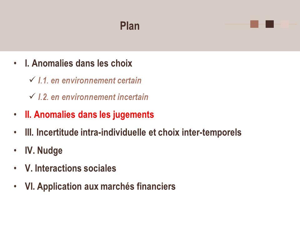 Plan I. Anomalies dans les choix II. Anomalies dans les jugements