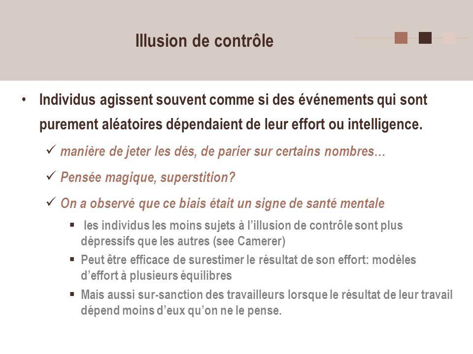 Illusion de contrôle Individus agissent souvent comme si des événements qui sont purement aléatoires dépendaient de leur effort ou intelligence.