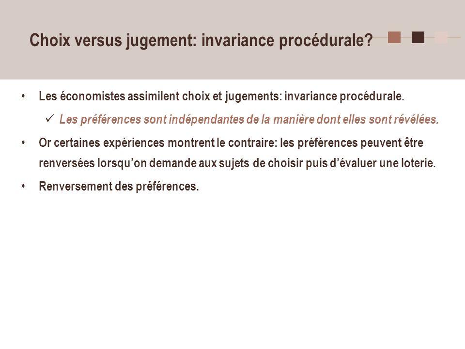 Choix versus jugement: invariance procédurale