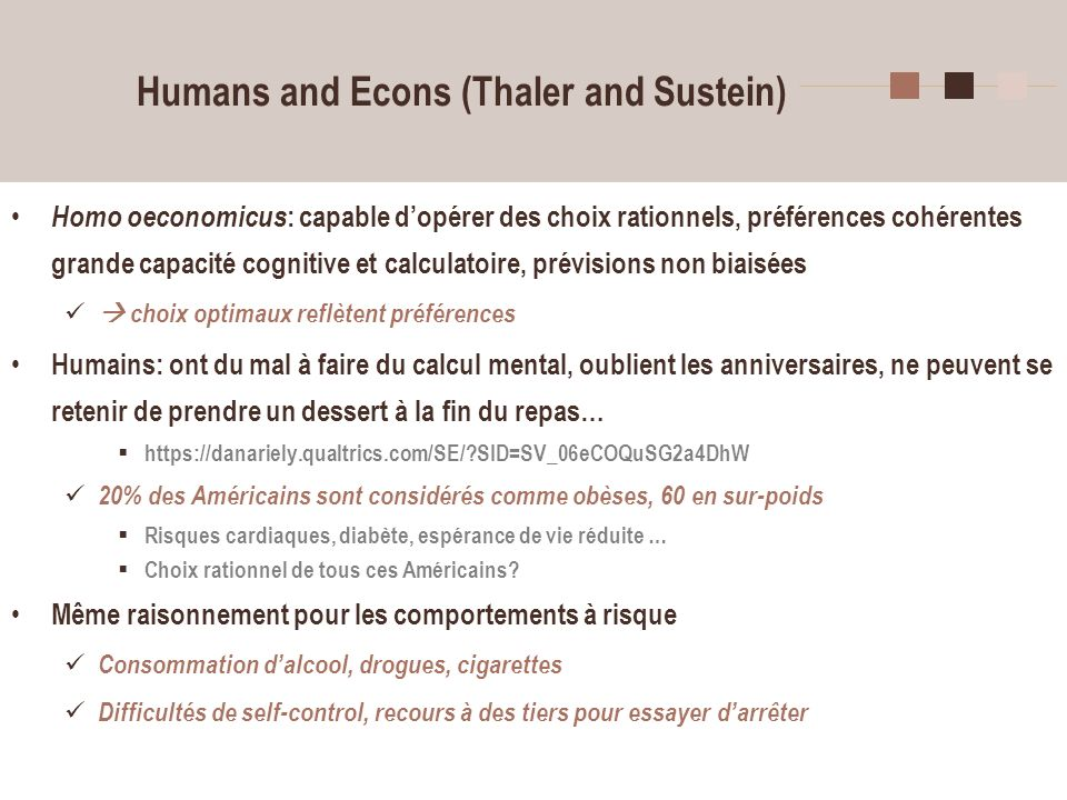 Humans and Econs (Thaler and Sustein)