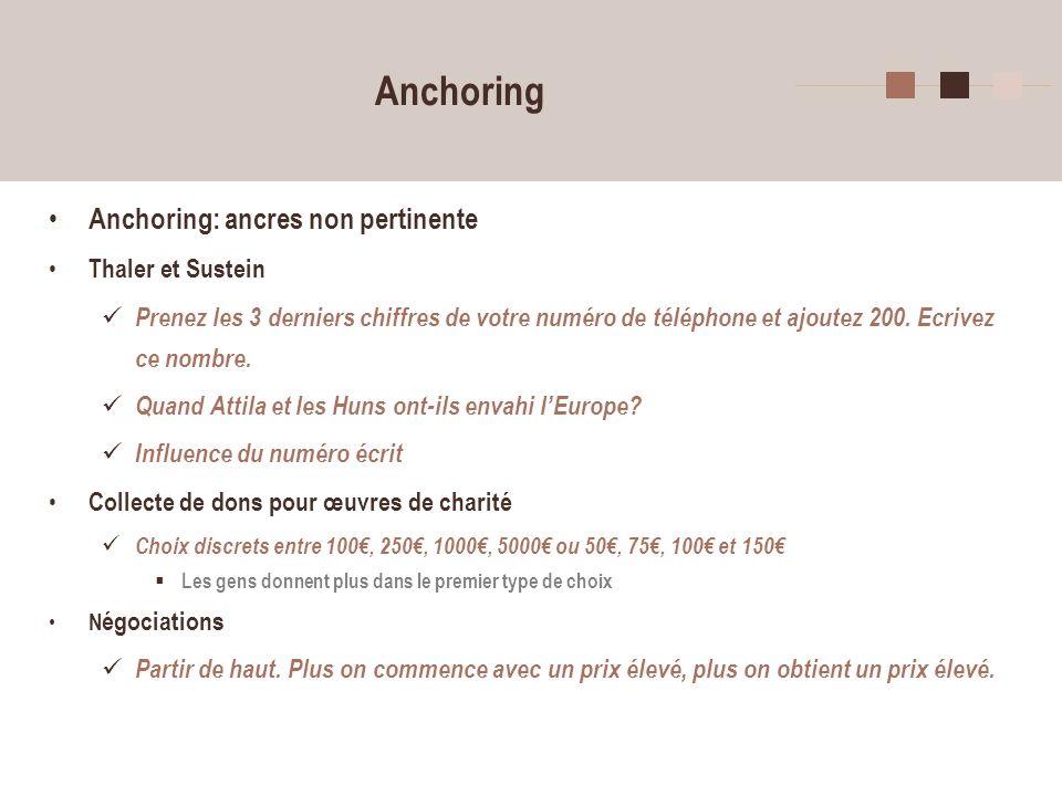 Anchoring Anchoring: ancres non pertinente Thaler et Sustein