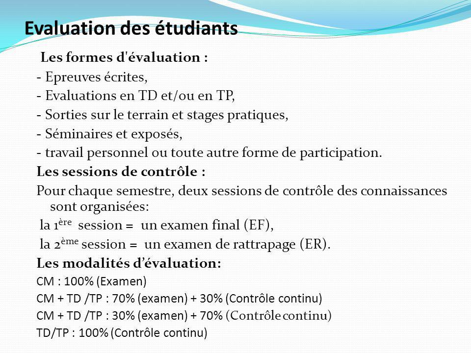 Evaluation des étudiants
