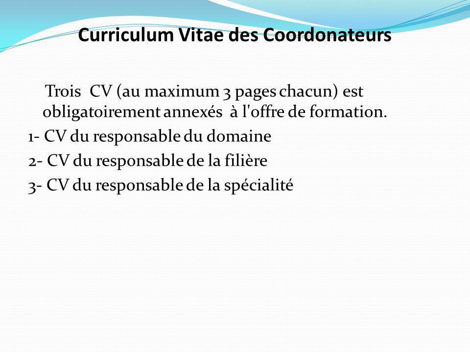 Curriculum Vitae des Coordonateurs