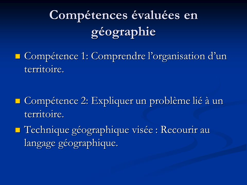 Compétences évaluées en géographie