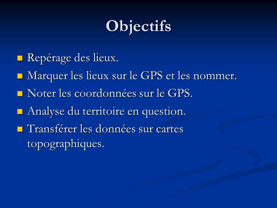 Objectifs Repérage des lieux.
