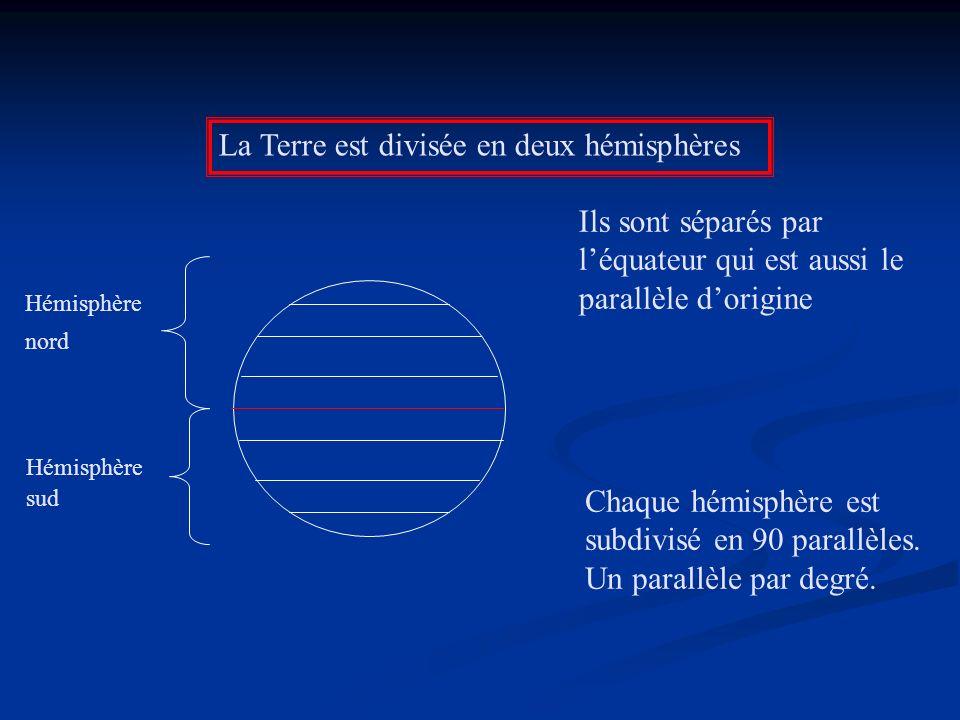 La Terre est divisée en deux hémisphères