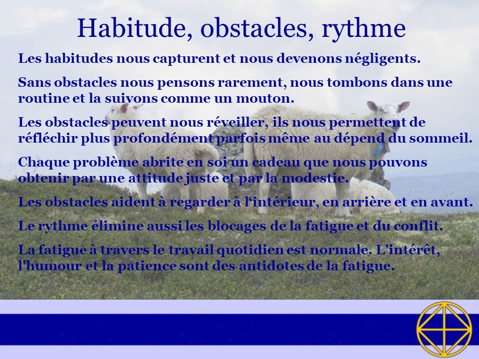 Habitude, obstacles, rythme