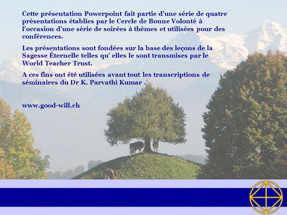 Cette présentation Powerpoint fait partie d une série de quatre présentations établies par le Cercle de Bonne Volonté à l occasion d une série de soirées à thèmes et utilisées pour des conférences.