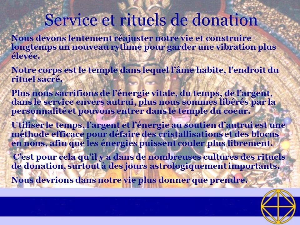 Service et rituels de donation