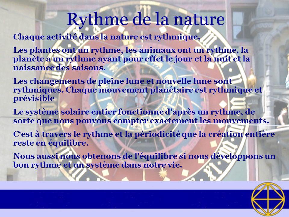 Rythme de la nature Chaque activité dans la nature est rythmique.