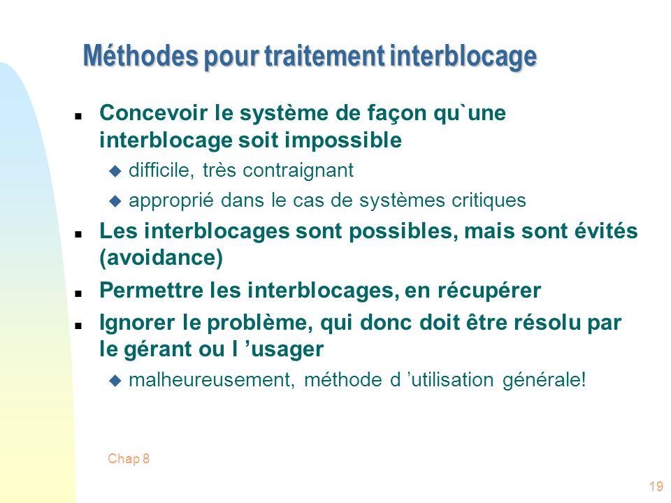 Méthodes pour traitement interblocage