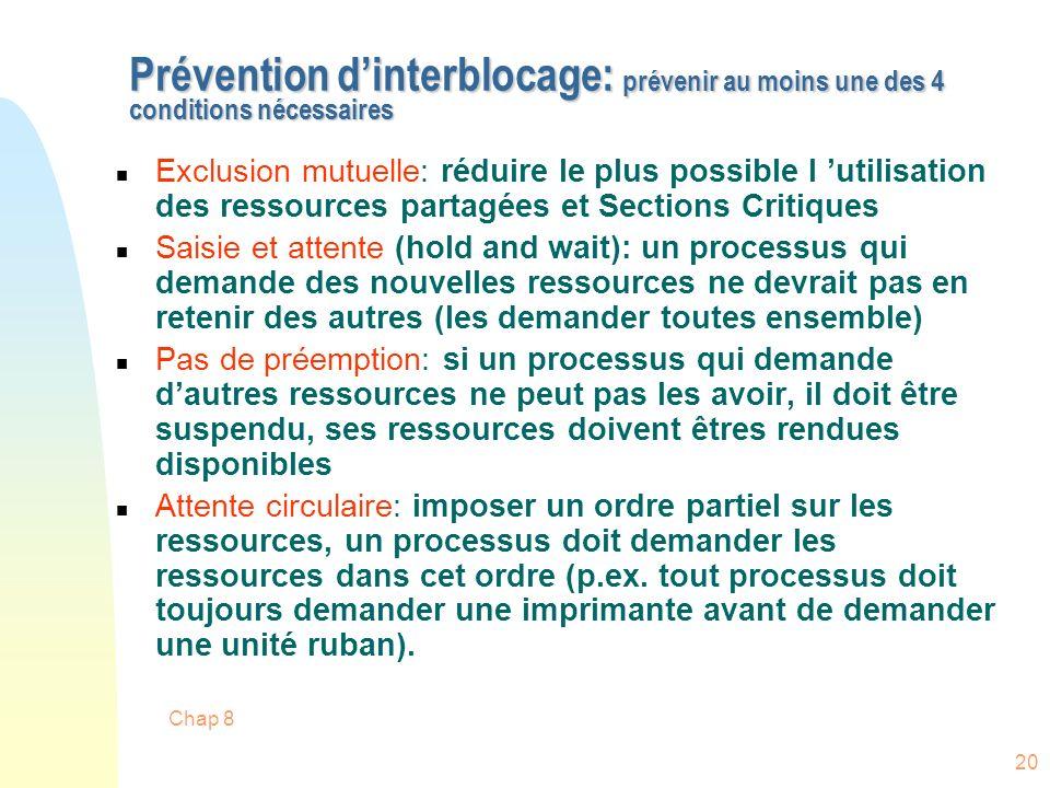 Prévention d'interblocage: prévenir au moins une des 4 conditions nécessaires