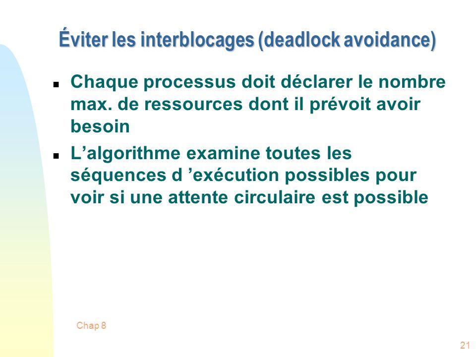 Éviter les interblocages (deadlock avoidance)
