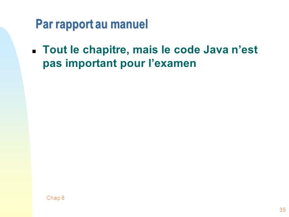 Par rapport au manuel Tout le chapitre, mais le code Java n'est pas important pour l'examen Chap 8