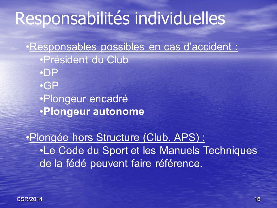 Responsabilités individuelles