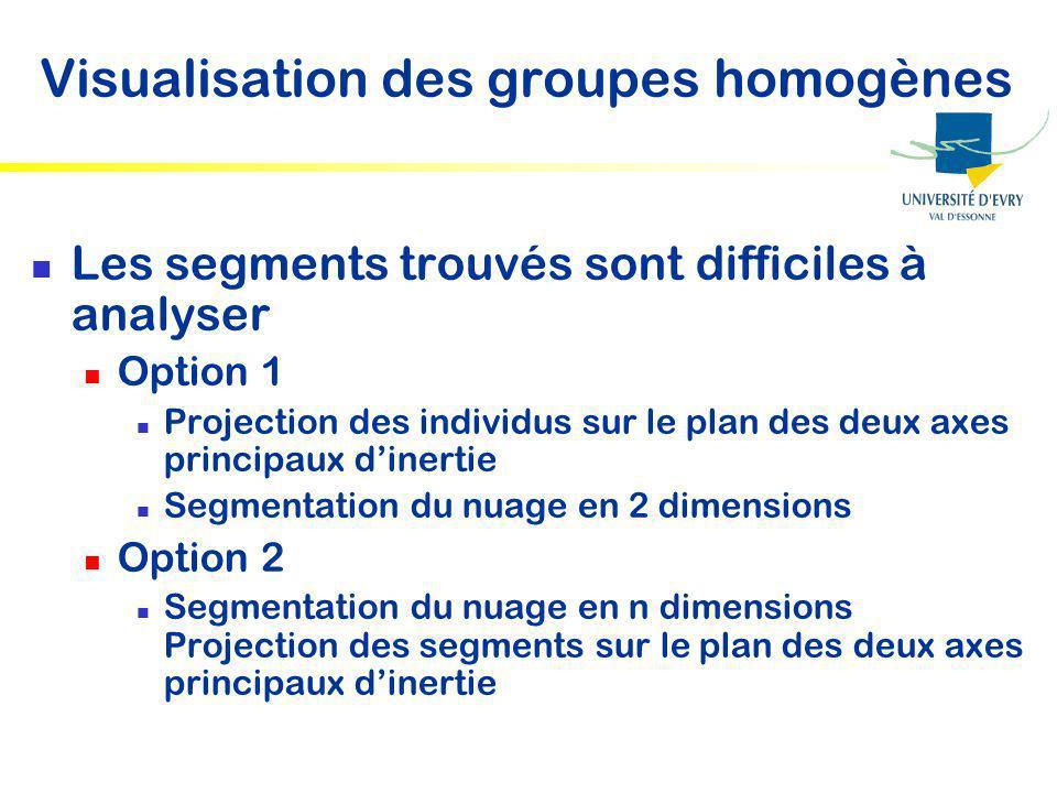 Visualisation des groupes homogènes
